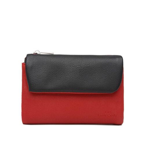 דגם שיר: ארנק לנשים בשילוב צבעים שחור ואדום