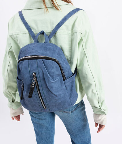 דגם אופל: תיק גב לנשים בצבע ג'ינס