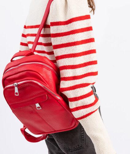 דגם שקד: תיק גב לנשים בצבע אדום