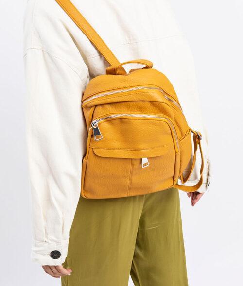 דגם שקד: תיק גב לנשים בצבע צהוב