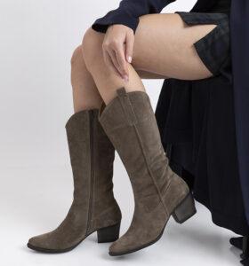 דגם קמרון - מגפיים לנשים בסגנון בוקרים עשוי זמש