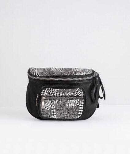 דגם לוסיל: פאוץ' עור לנשים בצבע שחור ולבן