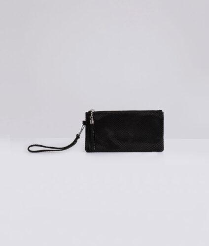 דגם חן: ארנק עור לנשים בצבע שחור מנוחש