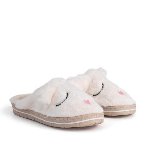 נעלי בית חיות בצבע שמנת