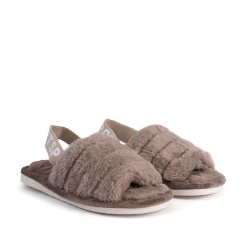 נעלי בית עם גומי אחורי בצבע מוקה