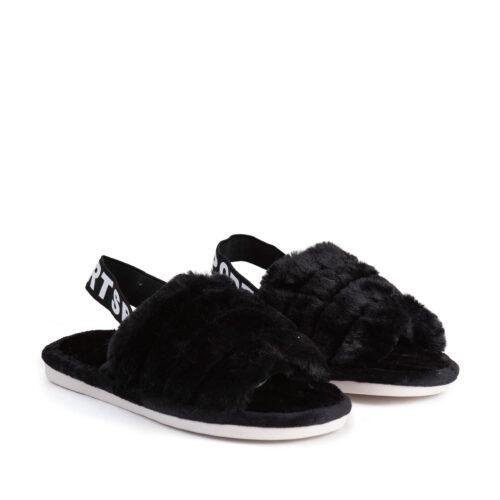 נעלי בית עם גומי אחורי בצבע שחור