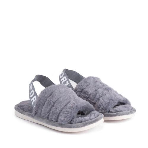 נעלי בית עם גומי אחורי בצבע אפור