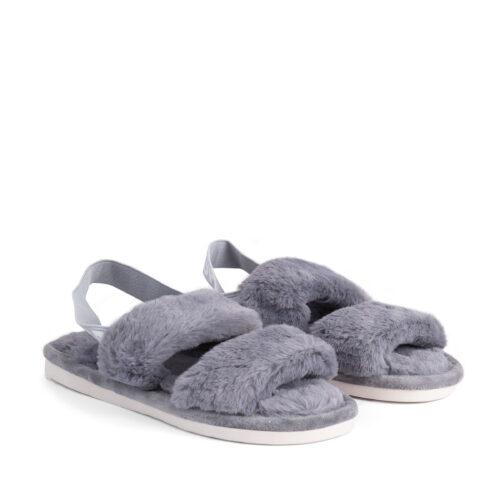 נעלי בית עם רצועות וגומי אחורי בצבע אפור