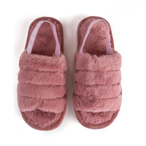 נעלי בית עם גומי אחורי בצבע ורוד