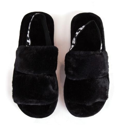 נעלי בית עם רצועות וגומי אחורי בצבע שחור
