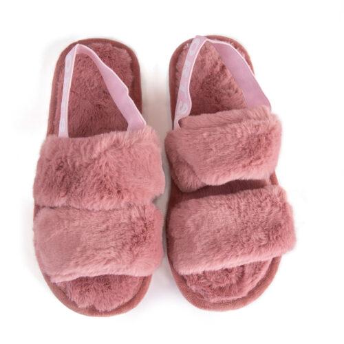נעלי בית עם רצועות וגומי אחורי בצבע ורוד
